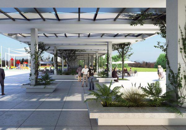 פארק נחל באר שבע – מתחם הספורטק, מבנה כניסה ראשית, מלתחות שחקנים ושירותים.